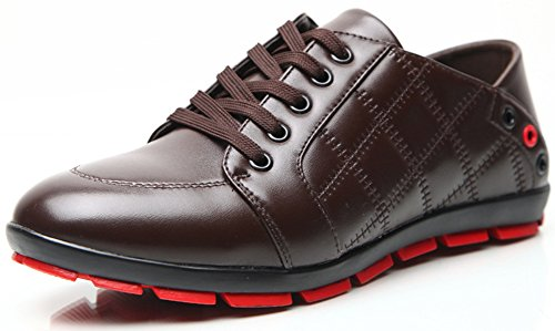 Skate Sneakers Toe Shoes Plaid Trendy Lace Mens Breathable Summerwhisper Coffee Casual Top up Low Leather Round 4q6OpwA