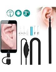 Mini Otoscope, Ear Otoscope Camera, Wireless Otoscope, WiFi USB Ear Otoscope Inspection Camera with 6 LED Lights, Earwax Removal Tool for iPhone and Android Smartphone, Mac and PC