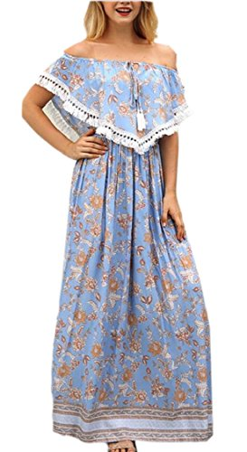 Beach A Dress Jaycargogo Off Blue Ruffle Line Floral Long Maxi Womens Shoulder qOwzqaU