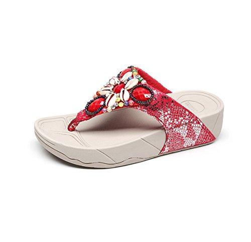 Gaatpot Flip Plate-forme Des Femmes Flops Sandales Peep Perles Orteil Chaussures Bohême De Plage D'été À Plat Rouge