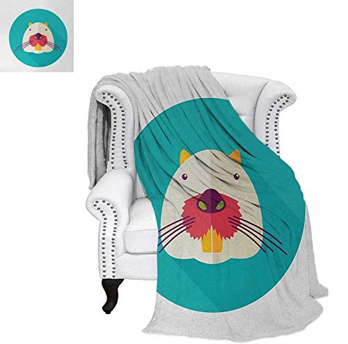 Velvet Plush Throw Blanket Beaver Portrait with Small Eyes and Giant Teeth Cartoon Style Animal Illustration Throw Blanket 70
