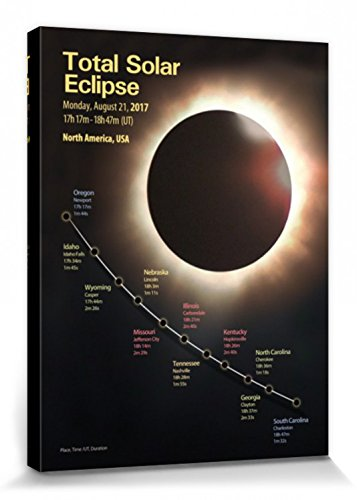 Eclipse Of The Sun Stretched Canvas Print - Total Solar Eclipse, August 21st 2017, North America (32 x 24 inches) by 1art1®