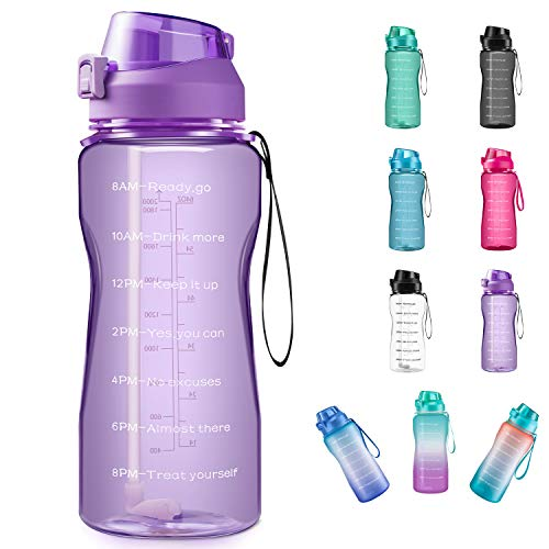 QuiFit Half Gallon Sport Water Bottle with Infuser//Time Marker 64//43//15 oz Locking Flip-Flop Lid,Large Capacity Outdoors Tritan Sport Water Jug,Non-Toxic BPA Free /& Eco-Friendly