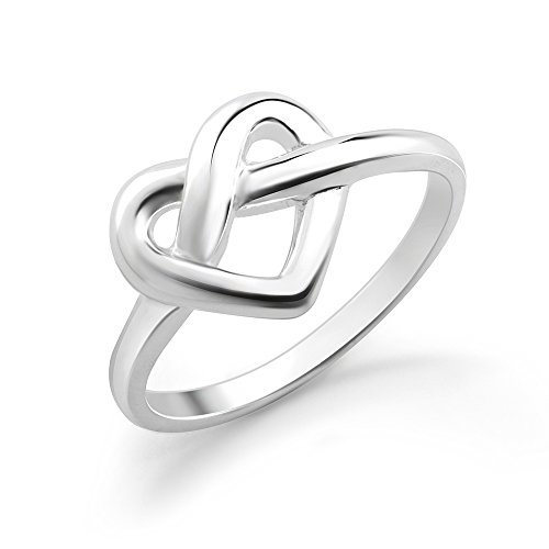 925 Sterling Silver Heart Shaped Infinity Love Knot Ring -