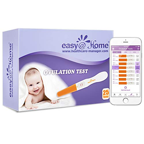 Easy@Home 25 Ovulation Predictor Kit Test Sticks, Midstream Fertility Tests, Powered by Premom Ovulation Predictor App and Period Tracking Free iOS and Android App, 25 LH ()