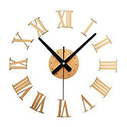 Kaimao Modern DIY Large Wall Clock Decal 3D Stickers Roman Numerals Mute Wall Clocks Home Office Decoration-Gold