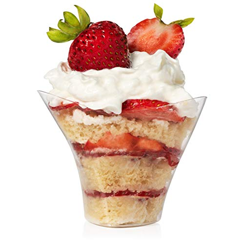 Mini Swirl Triangle Dessert Cups - Plastic Disposable Reusable For Serving Dessert, Fruits & Mini Appetizer - Sampling Tasting Cups for Wedding Birthday Parties By Loreso - (48CT 3.5oz Cups)
