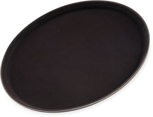 "Carlisle 1400GL076 GripLite Rubber Lined Non-Slip Round Serving Tray, 14"" Diameter, Tan (Pack of 12)"