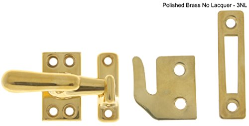 Idh by St. Simons 21014-3NL Solid Brass Large Casement Fastener, Polished Brass No Lacquer - Polished Brass Casement Fastener