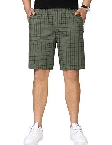 Men's Pure Cotton Plaids Elastic Waist Zip Pockets Cargo Shorts (Army Green, L)