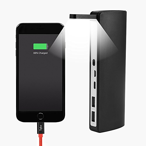 Power Bank,Tqka 8000mAh High Capacity Fast Charging Dual USB Port Portable Charger With LED Flash Light Smart External Battery Pack for Iphone,Samsung,Camera,Tablets and More-Black