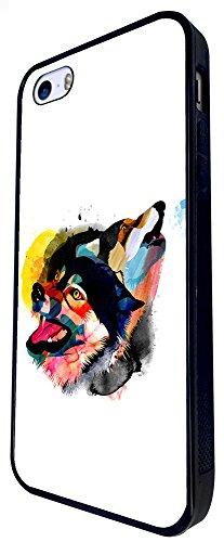 1492 - Cool Fun Trendy Wolf Colourful Animals Wildlife Woods Whimsical Design iphone SE - 2016 Coque Fashion Trend Case Coque Protection Cover plastique et métal - Noir