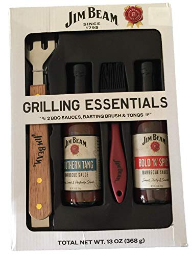 Jim Beam Grilling Essentials BBQ Gift Set! Includes Bold N Spicy & Southern Tang BBQ Sauce with Basting Brush & Tongs! Great Gift Set Send to Friends & Family!!