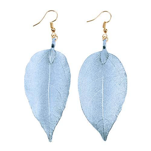 RIAH FASHION Bohemian Metal Dipped Natural Leaf Earrings - Lightweight Botanical Filigree Dangle Earrings (Sky Blue)