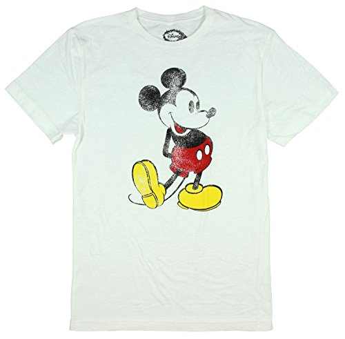 Disney Mickey Mouse Classic Distressed Graphic T-shirt (X-Large) (White T-shirt Distressed Classic)