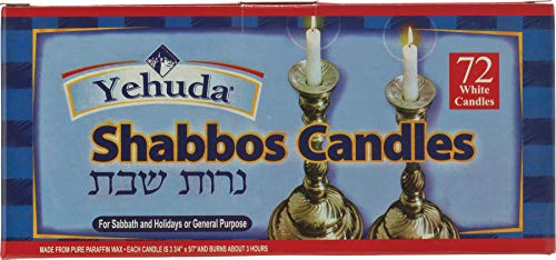 - Yehuda 3 Hour White Shabbos Candles, 72 ct (2 Pack) Traditional Shabbat Candles