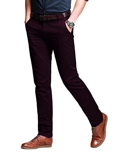 - Match Men's Fit Tapered Stretchy Casual Pants (32W x 31L, 8106 Wine red)