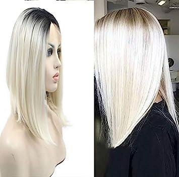 Amazoncom Sylvia 14 Platinum Blonde Ombre Bob Hairstyle
