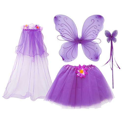 Fairy Dress Up Tutu Costumes (fedio 4Pcs Girls Princess Fairy Costume Set with Wings, Tutu, Wand and Floral Wreath Veil for Children Ages 3-6 (Purple))