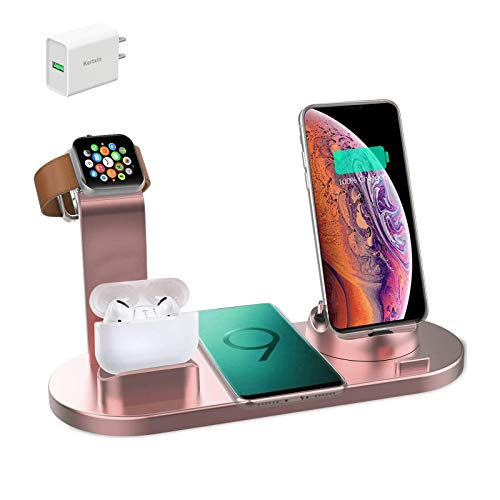 Kertxin Wireless Charger,4 in 1 Charging Station for Apple,QI Wireless Charging Stand for Apple Watch,iPhone,Airpod,Compatible with Apple Watch,iPhone 11 11 pro Xs X Max XR X 8 8+ Samsung S9