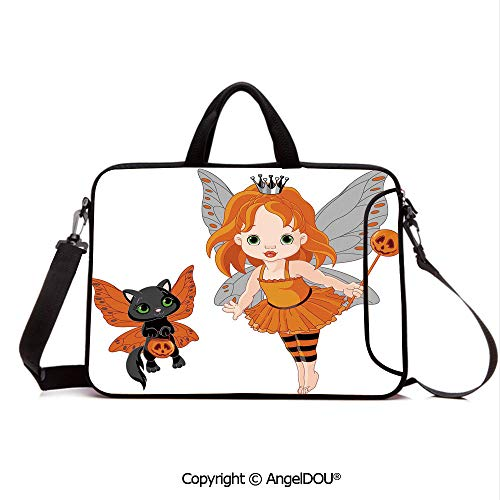 AngelDOU Laptop Sleeve Notebook Bag Case Messenger Shoulder Laptop Bag Halloween Baby Fairy and Her Cat in Costumes Butterflies Girls Kids Room Decor D Compatible with MacBook HP Dell Lenovo Multico