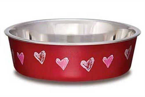 Loving Pets Hearts Bella Bowl for Dogs, Medium, Valentine Red