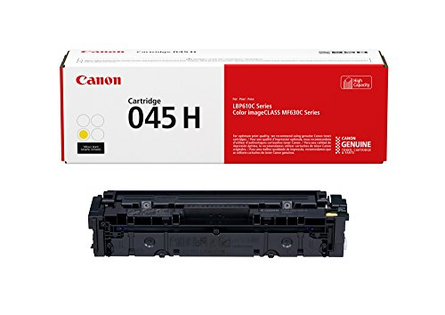 Yellow Capacity Cartridge Laser - Canon Genuine Toner, Cartridge 045 Yellow, High Capacity, 1 Pack, for Canon Color imageCLASS MF634Cdw, MF632Cdw, LBP612Cdw Laser Printers