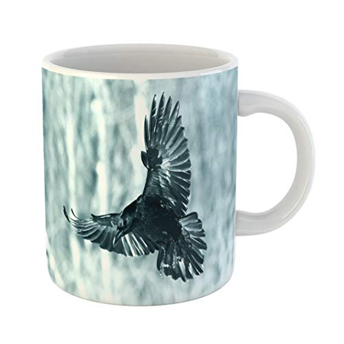 Emvency Coffee Tea Mug Gift 11 Ounces Funny Ceramic Bird Flying Black Raven Corvus Corax in Winter Time Looking for Something Gifts For Family Friends Coworkers Boss Mug -