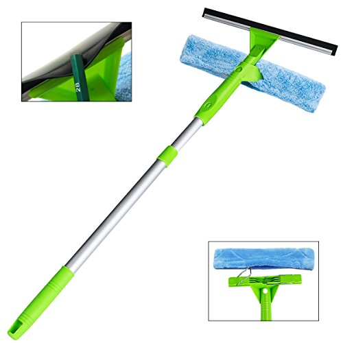 Squeegee Window Cleaner All-Purpose Squeegee Scrubber and Detachable Microfiber Pad Can Used Separately with Aluminum Alloy Extension Pole ()