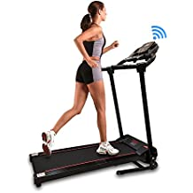 SereneLife Smart Digital Folding Exercise Machine - Electric Motorized Treadmill with Downloadable Sports App for Running & Walking - Pairs to Phones, Laptops, Tablets via Bluetooth SLFTRD18