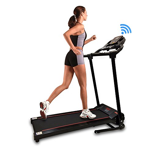SereneLife Smart Digital Folding Exercise Machine - Electric Motorized Treadmill with Downloadable Sports App for Running & Walking - Pairs to Phones, Laptops, & Tablets via Bluetooth - SLFTRD18
