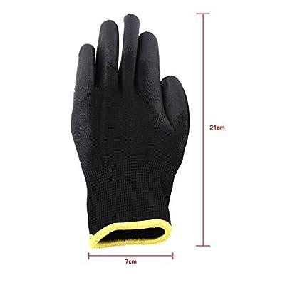 Nylon Polyurethane Palm Coated Work Gloves Workshop PU Knuckle Coating Gloves,Black Color,S/M/L Optional Size