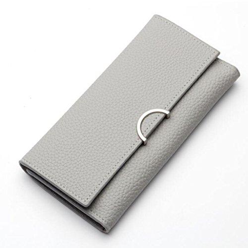 Unterarmtasche Geldbörse Frau lange Art einfache einfache Kreuz Schnalle Trifold Umschlag Damen Geldbörse Kupplung (Größe: 17,8 * 1,5 * 9 cm) (Farbe : Grau) Grau