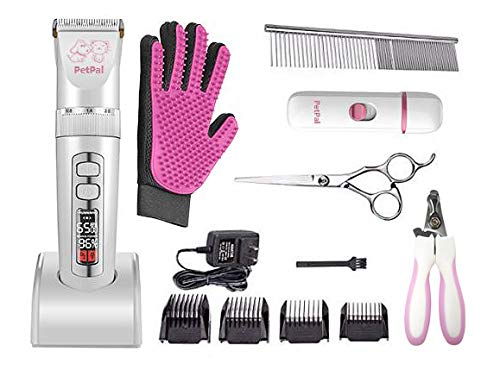 PETPAL Dog & Cat Professional Full Grooming Set Low Noise Pet Clipper 5 Adjustable Speeds Rechargeable Cordless Trimmer with Rechargeable Nail Grinder Grooming Glove Comb Guides Scissors (Pink)