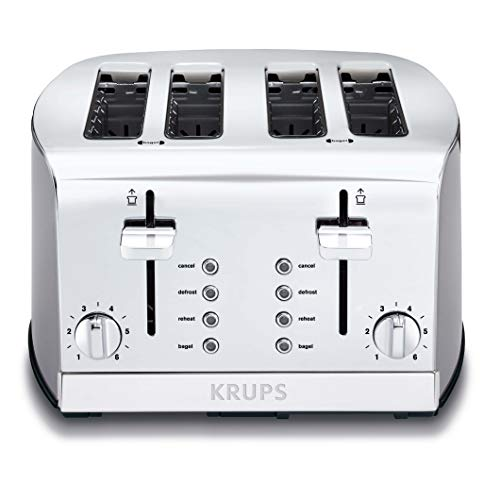 KRUPS KH734D Breakfast Set 4-Slot Toaster with Brushed and Chrome Stainless Steel Housing