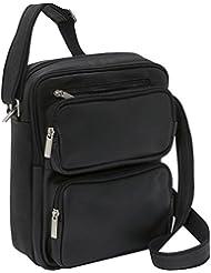 Le Donne Leather Multi Pocket iPad/eReader Day Bag, Black