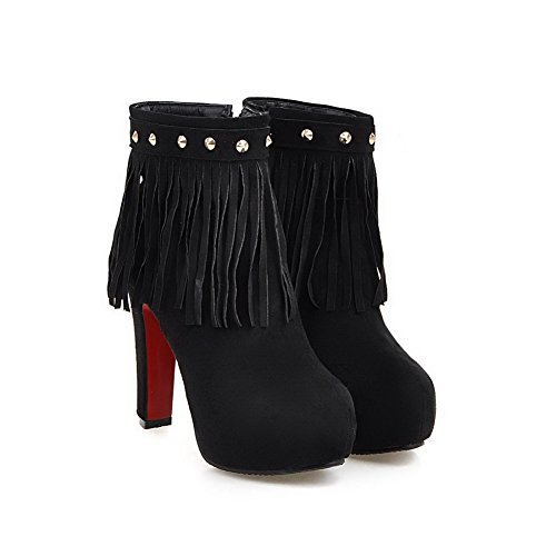 Fringed High Heels Black Boots Imitated Closed Odomolor Zipper Women's Round Suede Toe IXH5w
