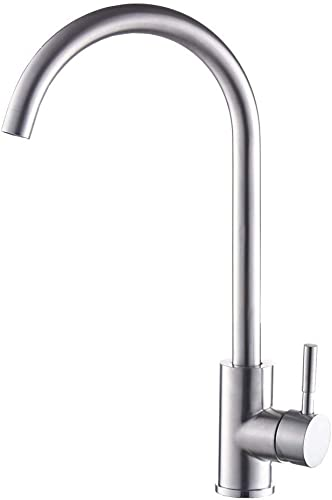 Kitchen Faucet, Commercial Brushed Nickel Stainless Steel One Hole Kitchen Faucet, 360 Degree Swivel High Arch Single Handle Lead-Free Bar Sink Faucet