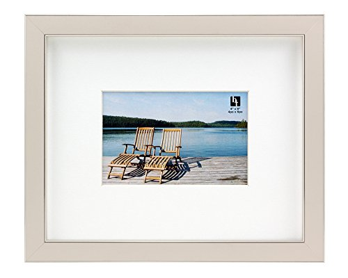 (BorderTrends Echo 8x10/4x6-Inch Photo Frame, Cloud White & Silver with White Mat )
