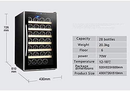 Enfriador de vino termoeléctrico de 28 botellas - Termostato inteligente independiente Enfriador de vino - refrigerador para guardar cigarros - con pantalla LCD Controles táctiles digitales
