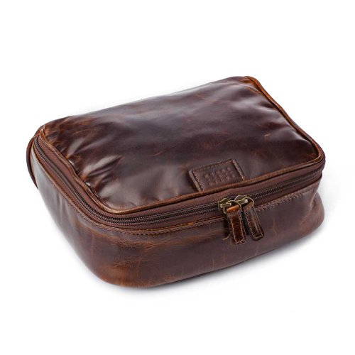 Moore and Giles Leather Donald Dop Toiletries Kit - Brompton Brown by Moore and Giles