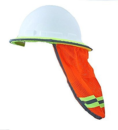 Safety Depot High Visibility Reflective Hard Hat Neck Sun Shade Meets ANSI & NFPA 701 (2010) Standards (Case of 48 Orange, Mesh)