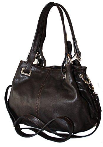 Sa-Lucca echt Leder Handtasche Damentasche 2508 Henkeltasche, Schultertasche, Tasche Ledertasche dunkelbraun MADE IN ITALY