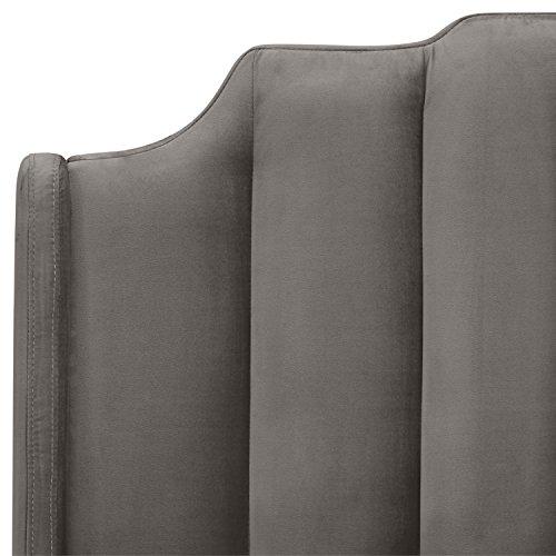 "Rivet Gwyneth Mid-Century Velvet Queen Bed, 92.1"" L, Steel Grey"