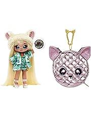 Na Na Na Surprise 2-i-1 modedocka & metallisk handväska glam-serie – samlarobjekt – blond docka i grön klänning och hund öron hatt med chihuahua-handväska – Victoria Grand