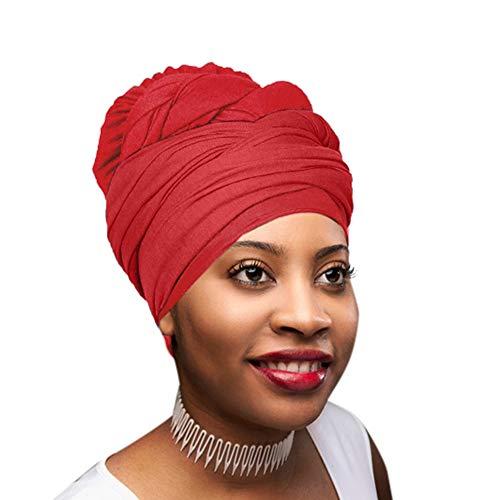 (30 Colors | Novarena 1-4 Pc Solid Color Head Wrap Stretch Long Hair Scarf Turban Tie Kente African Hat Jersey Knit Headwrap)