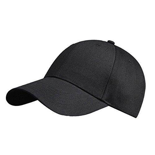 LvLoFit 100% Cotton Baseball Cap Solid Color 6 Panel Sports Cap Hats Size Adjustable Suit for Men and Women (Black) ()