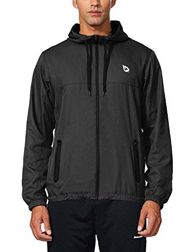 Baleaf Men's Runing Windbreaker Lightweight Hooded Windproof Jacket Black Size S ()