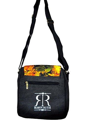 Robin Ruth Canvas kleine Umhängetasche/Überschlagtasche in schwarz/orange (Maße: LxHxT 23x23x8 cm)