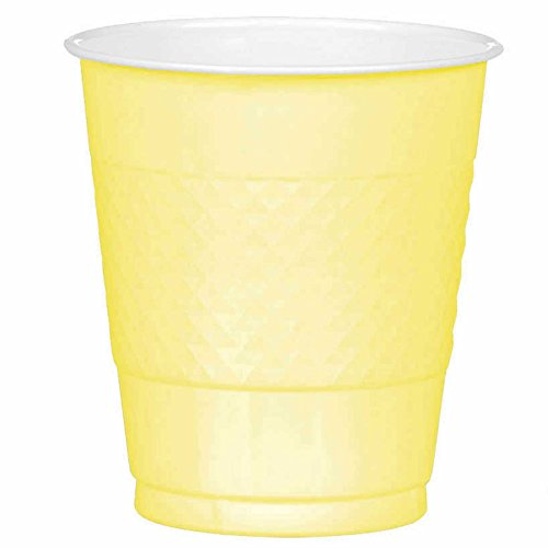 Light Yellow Plastic Cups | 12 oz. | Pack of 20 | Party Supply